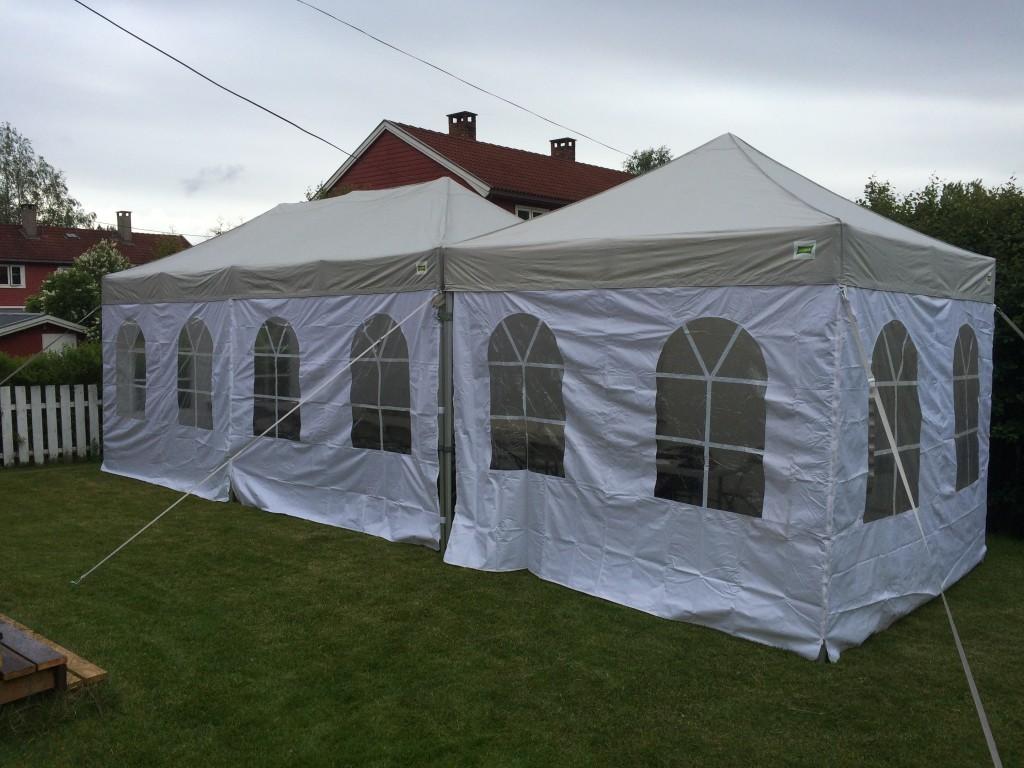 3x3 + 3x6 meter telt med barduner